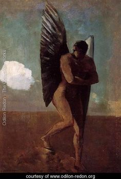 Fallen Angel Looking At At Cloud - Odilon Redon - www.odilon-redon.org
