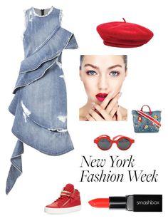"""the trend is the beret"" by kotnourka ❤ liked on Polyvore featuring Jonathan Simkhai, Giuseppe Zanotti, Louis Vuitton, Dolce&Gabbana, Brixton and Smashbox"