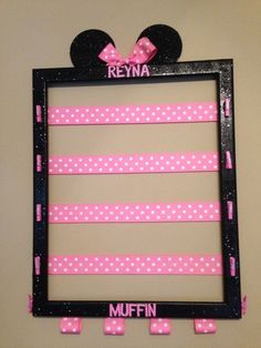 Cheer Bow holder using old picture frame