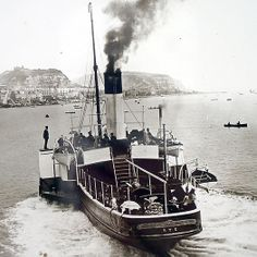 The paddle steamer leaving Hastings Pier on its way to Rye' Hastings Beach, Hastings East Sussex, Steam Boats, Boat Art, Seaside Village, Paddle Boat, Uk Photos, Tug Boats, Isle Of Wight