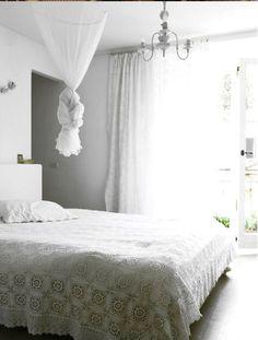 light filled bedroom - love crochet bedspreads