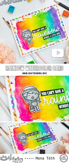 Rainbow Watercolor Card | Hedgehog Hollow | Mona Toth | Cardmaking and Scrapbooking