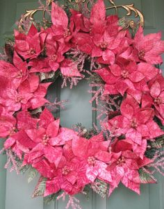 Pink Velvet Poinsettia Wreath, Christmas Wreath, Holiday Wreath, Pink Wreath, Perfect Gift, READY TO SHIP