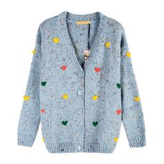 Embroidered Cardigans in Fleck Yarn with V-neck (1,865 MXN) ❤ liked on Polyvore featuring tops, cardigans, outerwear, sweaters, v neck cardigan, blue top, long sleeve cardigan, long sleeve knit cardigan and v-neck cardigan