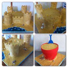 Sand Castle Cake Beach Pail Cake - sand castle fondant buttercream sea shells Beach Pail