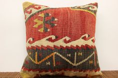 Traditional kilim pillow cover 16 x 16 Ethnic by kilimwarehouse, $52.00