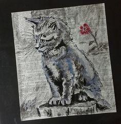 """""""Gato"""" (Acrílica s/ papel, tam. 21 x 18,5 cm)"""