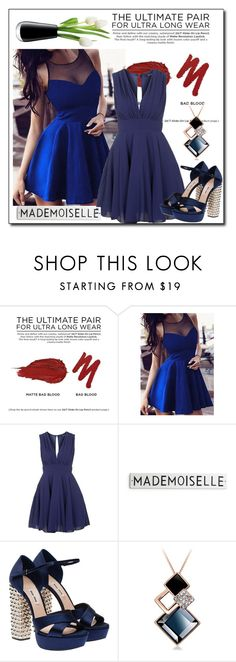 """lady in blue dresses"" by ainzme ❤ liked on Polyvore featuring Urban Decay, TFNC, Miu Miu and LSA International"