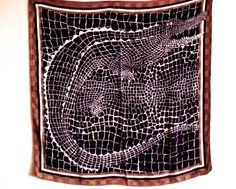 SOLD Valentino silk scarf Alligator mosaic pattern by eviscloset