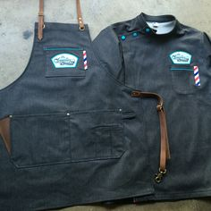 Matching old school barber smock and barber apron #denim #leather #custommade…