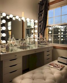 10 vanity mirrors with light ideas you need to spruce up your vanity table GirlsRoom AmourRoom BestBedroomGirls VanityMirrorWithLights Ikea Esty VanityDecor MakeupRoom GirlsVanityMirrorIdeas DIYVanityMirrorIdeas 715298353300138465 Makeup Table Vanity, Vanity Room, Vanity Mirrors, Vanity Ideas, Makeup Vanities, Mirror Ideas, Diy Vanity Table, Vanity Set, Closet Vanity