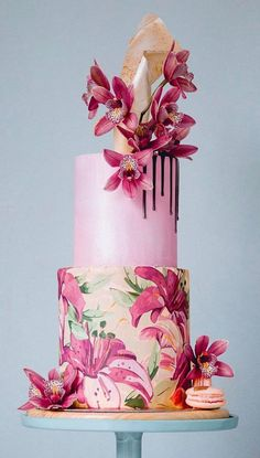 bright pink wedding cake with a dripping chocolate detail and pink orchids for decoration Beautiful Wedding Cakes, Gorgeous Cakes, Pretty Cakes, Wedding Cake Designs, Wedding Cupcakes, Wedding Cake Toppers, Orchid Cake, Bolo Floral, Hand Painted Cakes