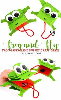 Fly Catching Frog Hand Puppet Craft with Free Printable Template This Fly Catching Frog Hand Puppet Craft is an adorable spring craft idea and a game to try to catch the fly in the frog's mouth! With Printable Template. Frog Puppet, Puppet Toys, Puppet Crafts, Frog Crafts Preschool, Fun Crafts, Frog Activities, Summer Crafts For Toddlers, Toddler Crafts, Toddler Play