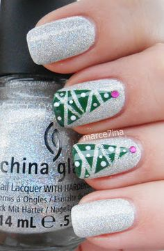 Essie blanc, China Glaze Glistening Snow, Holly-Day, Millenium and pink rhinestone