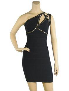 Herve Leger One Shoulder Hanne Stud-Trim Bandage Black Dress