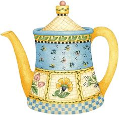 Blue and yellow tea pot