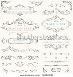 Ornate frames and scroll elements. - stock vector