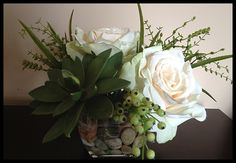 Succulents and roses!!! Unusual combination!!! Bebe'!!! Love this!!!