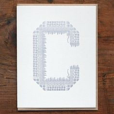 Ornamentales tarjeta tipografía C por starshapedpress en Etsy