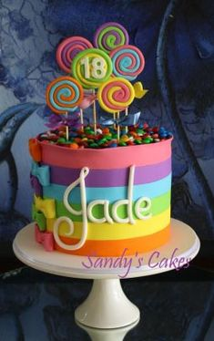 Candy cake by Sandy's Cakes.love the bows Torta Candy, Candy Cakes, Cupcake Cakes, Neon Cakes, Pretty Cakes, Cute Cakes, Bolos Cake Boss, Super Torte, Decoration Patisserie