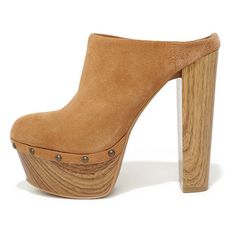 Jessica Simpson Dakota Tan Suede Leather Platform Clogs (1.630 ARS) ❤ liked on Polyvore featuring shoes, clogs, brown, suede shoes, platform mules, platform shoes, mule shoes and clogs mules
