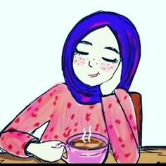 Hijab Cartoon Couple Girl Anime Muslim Relaxing Art Women Girls Sketches Character Drawing