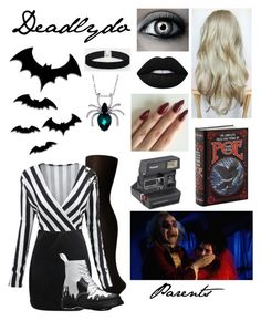 """Beetlejuice oc"" by nebulaprime ❤ liked on Polyvore featuring beauty, SPANX, WithChic, ASOS, Dr. Martens, Lime Crime and Polaroid"