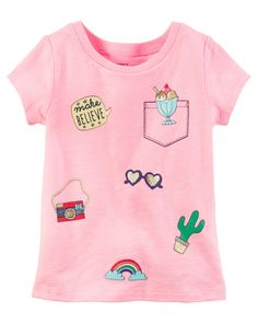 Toddler Girl Neon Patch Tee from Carters.com. Shop clothing & accessories from a trusted name in kids, toddlers, and baby clothes.