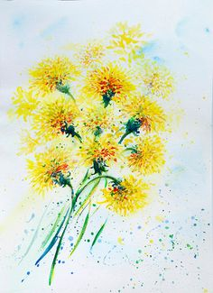 Yellow dandelions Original painting watercolor by coloribli