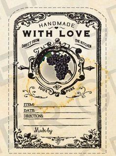 Vintage Grape Jam Canning Label Grapes by WAGlacierGraphics