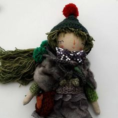 Forest Pixie Doll  Rag Doll OOAK Doll Cloth Art Doll Rag #dolls #handmade #handcrafted #green #thedollsunique #kids