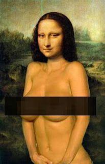 Mona Lisa as Nudie Pin up. Pop art.