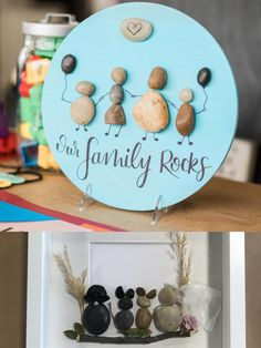 Check out these cute Little Rock families! This project is now offered as an at home DIY Delivery! Get creative with your littles, this project is too much fun! Rock Family, Wood Rounds, Sharpie, Shadow Box, Paint Colors, Families, Delivery, Create, Projects
