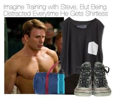 """Imagine Training with Steve, But Being Distracted Everytime He Gets Shirtless"" by fandomimagineshere ❤ liked on Polyvore featuring American Apparel, River Island, Blondes Make Better T-Shirts, Converse and SIGG"