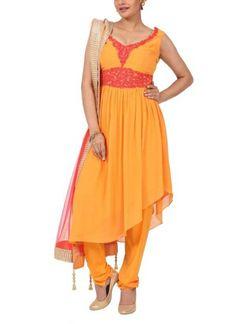 Orange Sleeveless Anarkali Suits by Ananda | strandofsilk.com | Indian Designers | designer anarkali suits