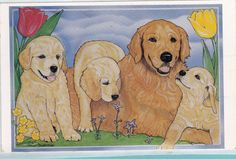 Kids Scrapbooking Collectible Puppies STICKER Decal Animals Golden Retrievers