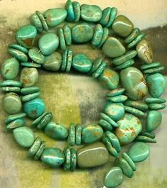 """Mexican Campo Frio Turquoise Beads 16"""" Strd Natural Color Genuine 9 16mm Mexico 