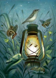 ✯ The Magic of Midsummer Night :: Artist Chris Buzelli✯ firefly watercolour Art And Illustration, Illustration Inspiration, Whimsical Art, Bird Art, Fantasy Art, Street Art, Art Gallery, Drawings, Artwork