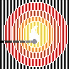This beautiful minimalist cross stitch pattern of a lit match is striking indeed, if you'd pardon the pun! The colour palette is intense and fits the design perfectly, and the chart is simple and easy to follow even for those of you who'd never had a go at cross stitch. And if you're one of these, isn't it time you tried it? It's a very relaxing and satisfying activity, you'll see! Original design by CrossStitchtheLine