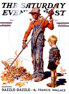 Raking Leaves (J.C. Leyendecker, November 6, 1937)