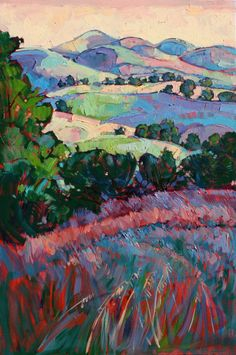 Fields Of Green Art Print by Erin Hanson. All prints are professionally printed, packaged, and shipped within 3 - 4 business days. Choose from multiple sizes and hundreds of frame and mat options. Erin Hanson, Abstract Landscape, Landscape Paintings, Painting Abstract, Painting Trees, Painting Flowers, Contemporary Landscape, Oil Paintings, Fine Art Amerika