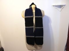 Handmade Striped Black, Blue, and Gray Scarf
