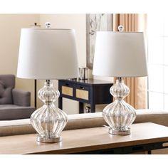 ABBYSON LIVING Silver Mercury Glass Table Lamp (Set of 2)