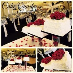 White and black themed wedding cake with red roses.