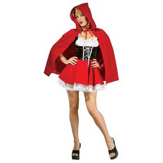 Make your way over to Grandma's house in this Red Riding Hood Women's Halloween Costume. Impress at any Halloween party by donning this Red Riding Hood costume which includes a corseted top, frilly skirt and classic red hooded cape. Little Red Riding Hood Halloween Costume, Red Riding Hood Costume, Halloween Kostüm, Halloween Costumes, Halloween Outfits, Witch Costumes, Women Halloween, Fairy Tale Costumes, Cool Costumes