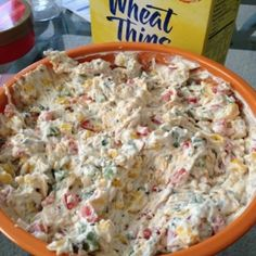 Tailgate dip: 1 red pepper, 2 jalepenos (unseeded), 1 can of corn, 1/2 can diced olives, 16 oz cream cheese (softened), and 1 packet Hidden Valley Ranch Dressing