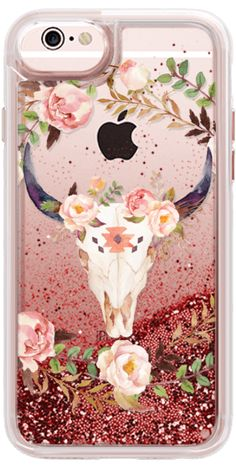 Casetify iPhone 6s Glitter Case - Watercolour Floral Bull Skull - Transparent by Ruby Ridge Studios #Casetify