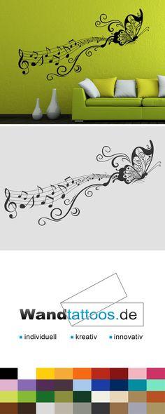 Wandtattoo Notenornament Mit Schmetterling Als Idee Zur Individuellen Wandgestaltung Einfach Lieblingsfarbe Und Grsse Auswhlen