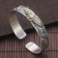 Men's Sterling Silver Eagle Cuff Bracelet - Jewelry1000.com