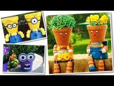 Reciclaje. Decoración de macetas - YouTube Flower Pot People, Flower Pots, Flowers, Terra Cotta, Geraniums, Flower Making, Minions, Art Work, Butterflies